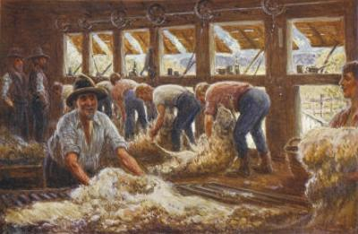 In an Australian Sheep Shearing Shed by Percy F.s. Spence
