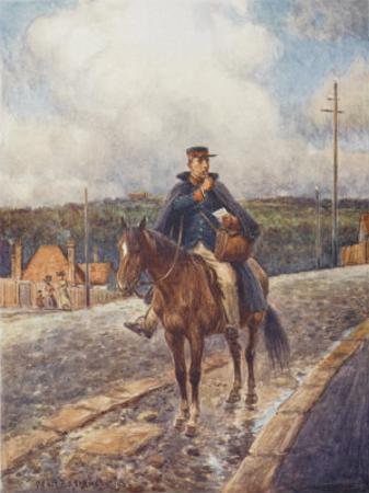 Mounted Postman in the Australian Outback by Percy F.s. Spence