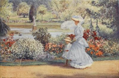 Native Australian and Her Daughter Stroll Among Indigenous Australian Flora in the Botanical Garden by Percy F.s. Spence