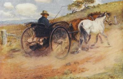 Postman in His Mail-Cart in the Australian Outback by Percy F.s. Spence