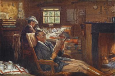 Scene in the Office at Robundara Sheep Station by Percy F.s. Spence