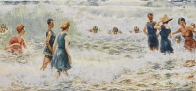 Swimmers Enjoying the Breakers on an Australian Beach by Percy F.s. Spence