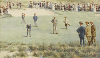 Tense Moment During a Championship Match at the Royal Sydney Golf Club Links Australia by Percy F.s. Spence