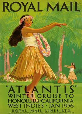 "Hawaii Hula, Royal Mail ""Atlantis"" c.1936 by Percy Padden"