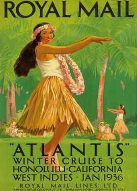 """Hawaii Hula, Royal Mail """"Atlantis"""" c.1936 by Percy Padden"""