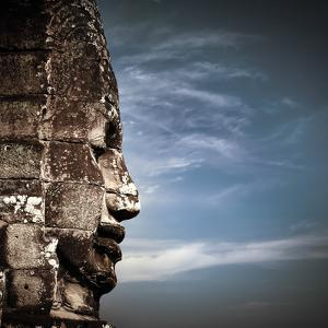 Ancient Khmer Architecture. Huge Carved Buddha Faces of Bayon Temple at Angkor Wat Complex, Siem Re by Perfect Lazybones