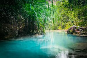 Jungle Landscape with Flowing Turquoise Water of Erawan Cascade Waterfall at Deep Tropical Rain For by Perfect Lazybones