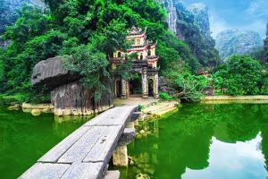 Outdoor Park Landscape with Lake and Stone Bridge. Gate Entrance to Ancient Bich Dong Pagoda Comple by Perfect Lazybones