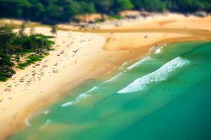 Tropical Sandy Beach Landscape from High View Point Tilt Shift Effect. Beautiful Turquoise Ocean An by Perfect Lazybones