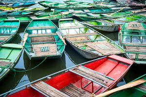 Vietnamese Boats on the River Early in the Morning. Tam Coc, Ninh Binh. Vietnam Travel Landscape An by Perfect Lazybones