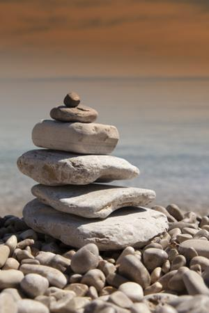 Stack of Stones, Zen Concept, on Sandy Beach by perfectmatch