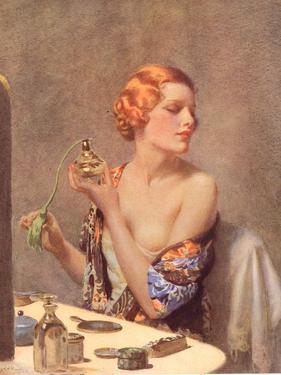 Perfume Woman Doing Her Make-Up, Budoir Putting On Perfume, UK, 1930