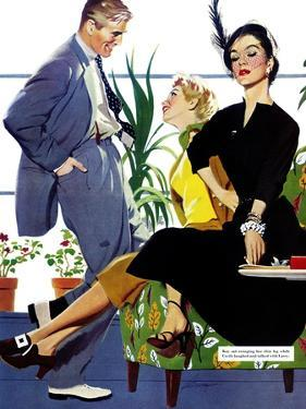 """Two Girls At Once - Saturday Evening Post """"Men at the Top"""", November 8, 1952 pg.39 by Perry Peterson"""