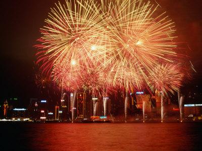 Fireworks Display Over Victoria Harbour for Chinese New Year, Hong Kong