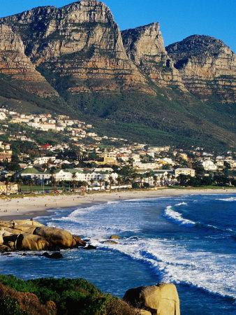 Overhead of Camps Bay with Twelve Apostles in Background, Cape Town, South Africa