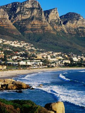 Overhead of Camps Bay with Twelve Apostles in Background, Cape Town, South Africa by Pershouse Craig
