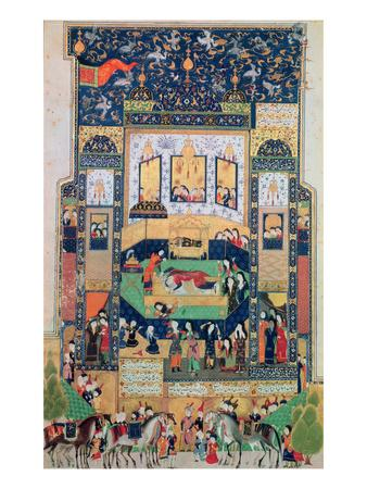 The Death of Shirin, Illustration to 'Khosro and Shirin' by Elias Nezami (1140-1209), 1504