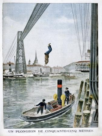 Person Plunges 55 Metres from Portside, Rouen, 1901