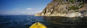 Person's Feet in a Kayak, Lake Tahoe, California, USA