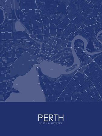 Perth, Australia Blue Map