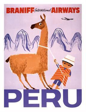 Peru - Braniff International Airways - Native Boy with Llama