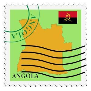 Stamp with Map and Flag of Angola by Perysty