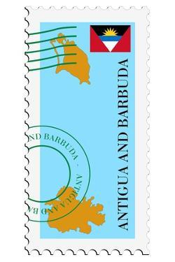 Stamp with Map and Flag of Antigua and Barbuda by Perysty