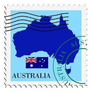 Stamp with Map and Flag of Australia by Perysty