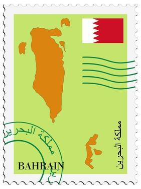 Stamp with Map and Flag of Bahrain by Perysty