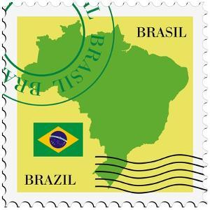 Stamp With Map And Flag Of Brazil by Perysty