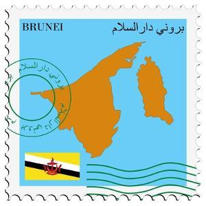 Stamp with Map and Flag of Brunei by Perysty