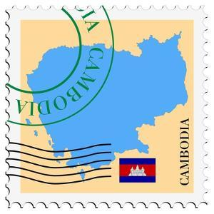 Stamp with Map and Flag of Cambodia by Perysty