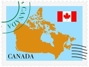 Stamp with Map and Flag of Canada by Perysty
