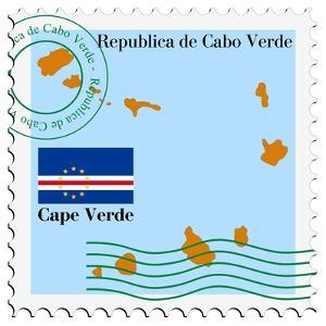 Stamp with Map and Flag of Cape Verde by Perysty