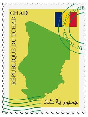 Stamp with Map and Flag of Chad by Perysty