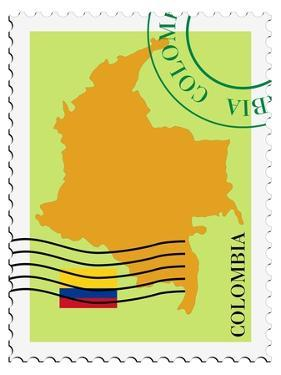 Stamp with Map and Flag of Colombia by Perysty