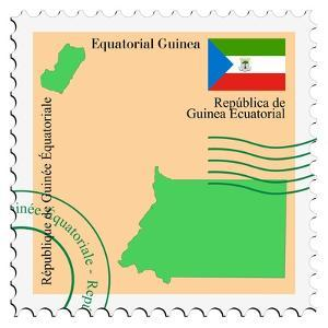Stamp with Map and Flag of Equatorial Guinea by Perysty