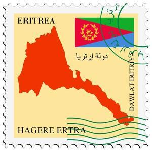 Stamp with Map and Flag of Eritrea by Perysty