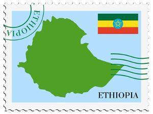 Stamp with Map and Flag of Ethiopia by Perysty