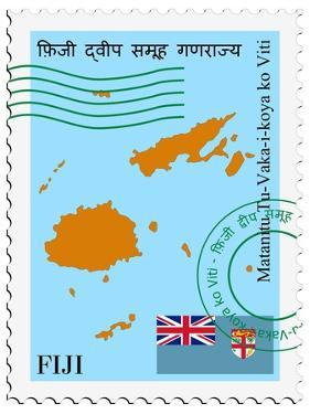 Stamp with Map and Flag of Fiji by Perysty