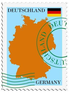Stamp with Map and Flag of Germany by Perysty