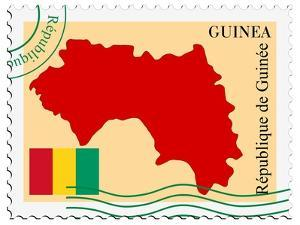 Stamp with Map and Flag of Guinea by Perysty
