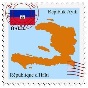 Stamp with Map and Flag of Haiti by Perysty