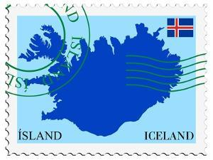 Stamp with Map and Flag of Iceland by Perysty