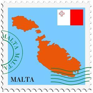 Stamp with Map and Flag of Malta by Perysty