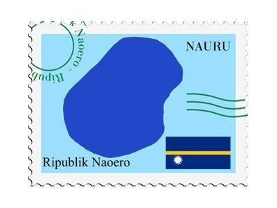 Stamp with Map and Flag of Nauru by Perysty