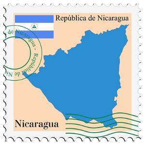 Stamp with Map and Flag of Nicaragua by Perysty
