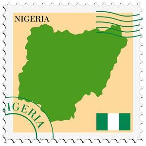 Stamp with Map and Flag of Nigeria by Perysty