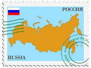 Stamp with Map and Flag of Russia by Perysty