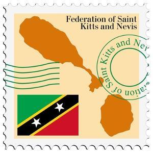 Stamp with Map and Flag of Saint Kitts and Nevis by Perysty